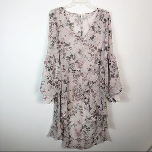 Leith Sheer Floral Pullover Tunic Top Dress